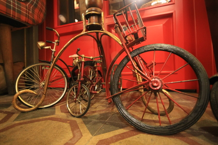 Antique Bicycle Toys Standing Side by Side, 1950s Toys Figure