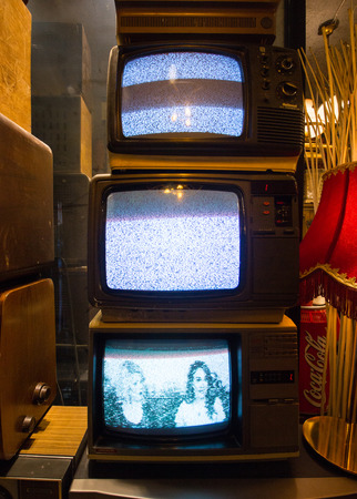 Istanbul, Istiklal Street  Turkey 16.4.2019: Old Classic Retro Televisions, Antique Collections.