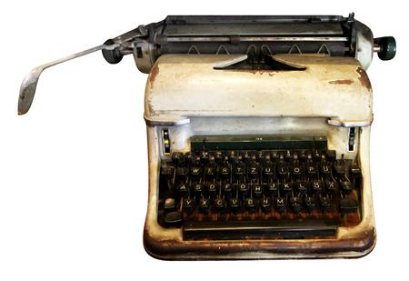 Máquina de escribir aislada, máquina de escribir antigua, equipo analógico usado