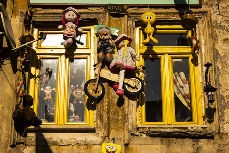Istanbul Balat  Turkey - March 29.2019: Decorated Soup Kitchen Windows in Istanbul Balat, The Soup Kitchen Servicing Only for Kids.