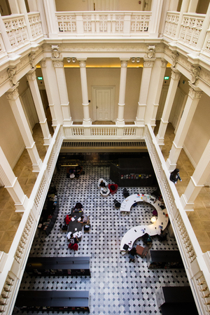 Istanbul, Karakoy  Turkey 16.4.2019: Salt Galata Top View, Library View, Turkish Students are Working on Their Projects. Editöryel