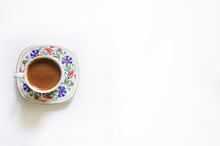 Isolated Turkish Coffee, Cup Of Turkish Coffee, Traditional Coffee, White Background, Turkish Coffee and Blank Area. Stock Photo