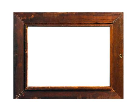 Marco de fotos aislado, marco de fotos antiguo de madera.
