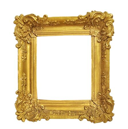 Geïsoleerde fotolijst, kleine gouden antieke fotolijst, vintage frame.