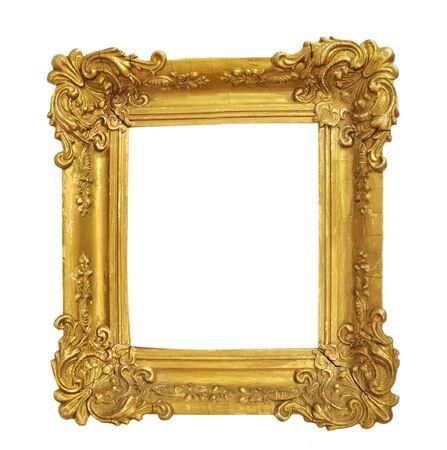 Na białym tle ramka na zdjęcia, mała złota antyczna ramka na zdjęcia, ramka w stylu vintage.