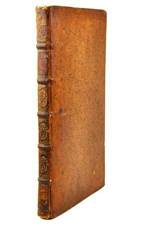 Sfondo bianco isolato, vista laterale del libro antico.