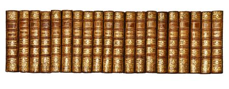 Isolated White Background, Shinny Antique Book Collection Shelf View, Library Shelf View of twenty of Historical Books