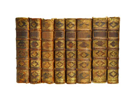 Isolated White Background, Shinny Antique Book Collection Shelf View, Seven piece of Antique Books.