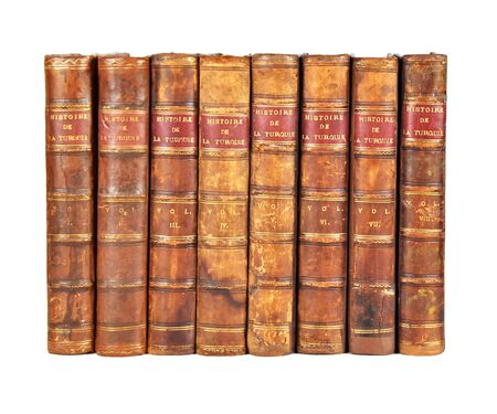 Istanbul, Taksim / Turkey - 08.12.2019: Isolated White Background, Shinny Antique Book Collection Shelf View, piece of Antique Books.