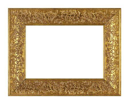 Isolated Photo Frame, Little Golden Antique Photo Frame, Vintage Frame.