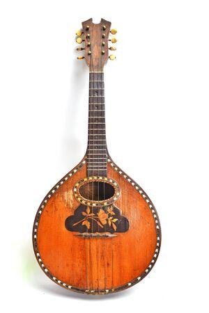 Antique Mandolin Isolated on White Background. Old Instrument