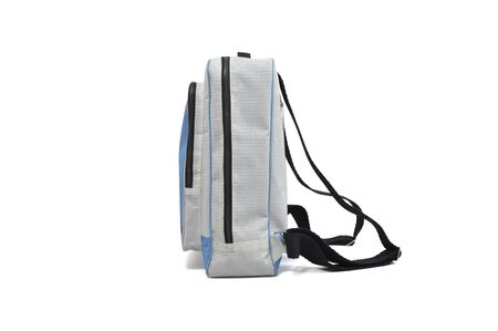 White background isolated backpack, view of side, grey and blue. Stockfoto