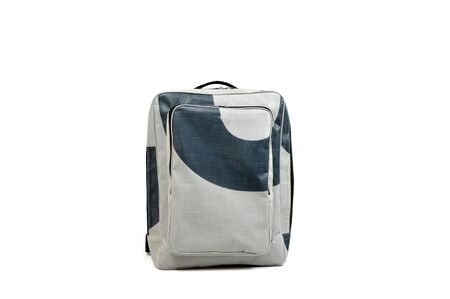 White background isolated backpack, grey and blue.