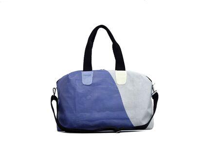 White background isolated, grey and blue handbag.