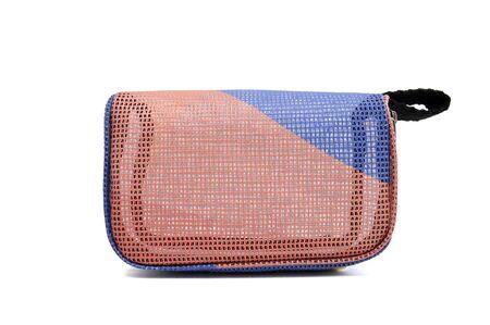 White background isolated and pink handbag.