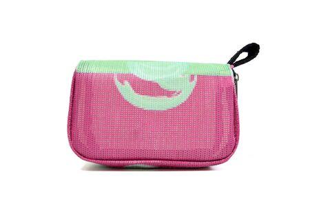 White background isolated and pink handbag. 版權商用圖片