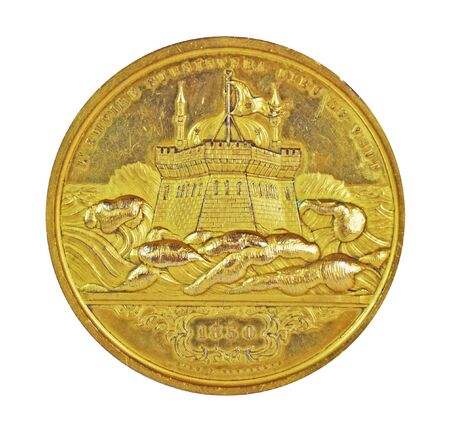 Antique Gold Coin 1850's on Isolated White Background. Фото со стока