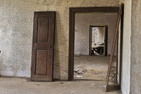 unused: Doors in abandoned castle view
