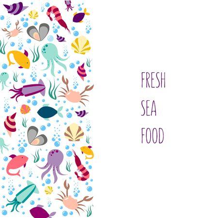 Vector illustration of sea animals for seafood restaurant or café banner, poster, clothes, advertisement design. Pattern for template, signage, billboard, printing, booklet, package, menu design