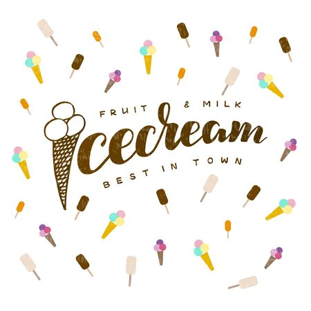 Vector illustration of ice cream lettering for banner, leaflet, poster, clothes, advertisement design. Handwritten text for template, signage, billboard, printing. Imitation of brushpen lettering