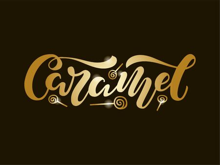 Vector illustration of caramel brush lettering for banner, leaflet, poster, clothes, confectionery or patisserie , advertisement design. Handwritten text for template, signage, billboard, print. Ilustrace