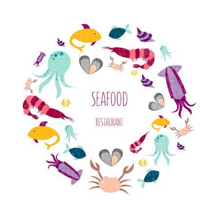 Vector illustration of sea animals for seafood restaurant or café banner, poster, clothes, logo, advertisement design. Pattern for template, signage, billboard, printing, booklet, package, menu design Foto de archivo - 134554784
