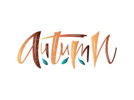 Vector illustration of autumn lettering for banner, postcard, poster, clothes, advertisement design. Handwritten text for template, signage, billboard, print. Imitation of brushpen writing