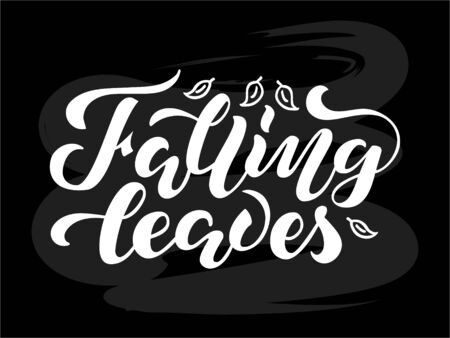 Vector illustration of falling leaves lettering for banner, postcard, poster, clothes, advertisement design. Handwritten text for template, signage, billboard, print. Imitation of brushpen writing