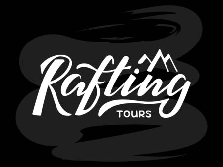 Vector illustration of rafting tours brush lettering for banner, leaflet, poster, clothes, logo, advertisement design. Handwritten text for template, signage, billboard, printing, price list, flyer