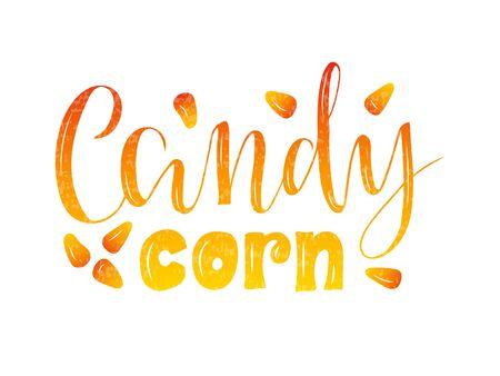 Vector illustration of candy corn brush lettering for banner, flyer, poster, clothes, confectionary or patisserie logo, advertisement design. Handwritten text for template, signage, billboard, print.