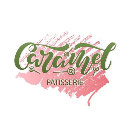 Vector illustration of caramel brush lettering for banner, leaflet, poster, clothes, confectionary or patisserie logo, advertisement design. Handwritten text for template, signage, billboard, print.