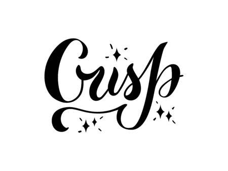 Vector illustration of crisp brush lettering for banner, flyer, poster, clothes, postcard, logo, advertisement, book cover design. Handwritten text for template, signage, billboard, print, décor Logo