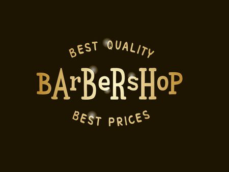 Vector illustration of barbershop lettering for banner, leaflet, poster, clothes, logo, advertisement design. Handwritten text for template, signage, billboard, printing, price list of the barber's Vectores