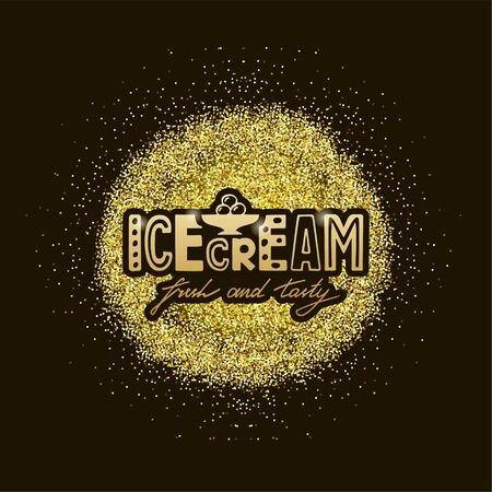 Vector illustration of icecream lettering for banner, leaflet, poster, clothes, logo, advertisement design. Handwritten text for template, signage, billboard, printing. Hand drawn text for flyer