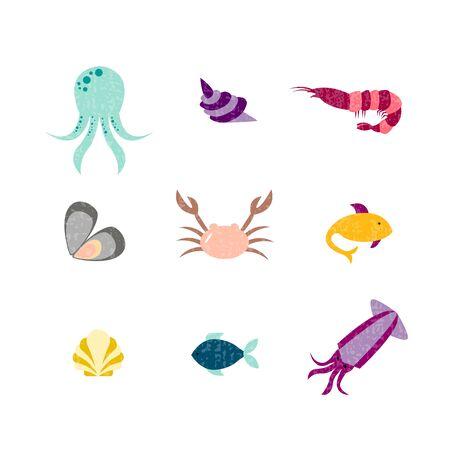 Vector illustration of sea animals for seafood restaurant or café banner, poster, clothes, logo, advertisement design. Pattern for template, signage, billboard, printing, booklet, package, menu design Vettoriali