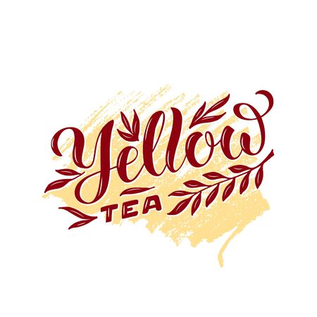 Vector illustration of yellow tea brush lettering for package, banner, flyer, poster, bistro, café, shop signage, advertisement design. Handwritten text for template, sign, billboard, print
