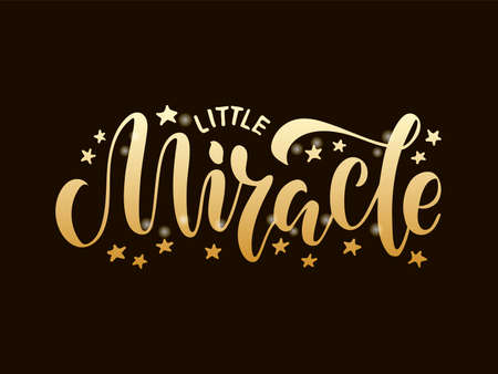 Vector illustration of little miracle lettering for banner, postcard, poster, clothes, advertisement design or decoration. Handwritten text for template, signage, billboard, print. Brush pen writing