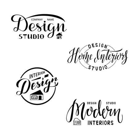 Vector illustration of design studio lettering for banner, leaflet, poster,  advertisement, price list, web design. Handwritten text for template, signage, billboard, print, flyer