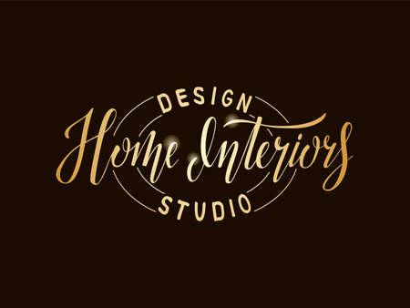 Vector illustration of home interiors design studio lettering for banner, leaflet, poster, advertisement, price list, web design. Handwritten text for template, signage, billboard, print, flyer
