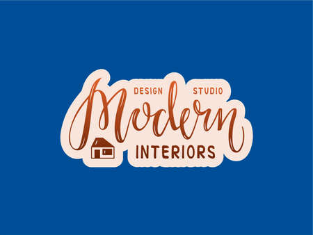 Vector illustration of modern interiors design studio lettering for banner, leaflet, poster, logo, advertisement, price list, web design. Handwritten text for template, signage, billboard, print, flyer Иллюстрация