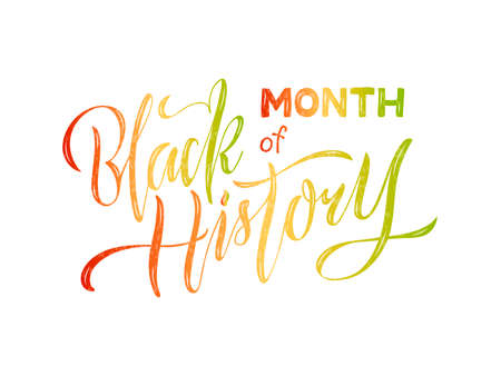 Vector illustration of month of black history lettering for banner, postcard, poster, clothes, advertisement, flyer design or decoration. Handwritten text used for template, signage, billboard, print Illusztráció