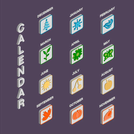Vector illustration of twelve isometric calendar icons for different months with graphic symbols and text for web design, mobile apps, banner, advertisement, catalog. Colorful signs on dark background Ilustracja