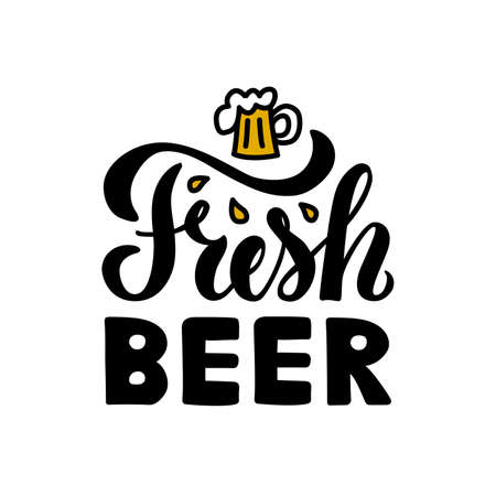 Vector illustration of fresh beer lettering for bottle stickers, banner, greeting card, advertisement, poster, invitation, shop signage, web design or print. Handwritten text for beer festival