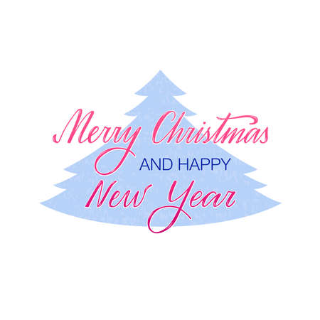 Vector illustration of merry Christmas and happy new year lettering for banner, poster, greeting card, souvenirs, stickers, invitation, product design.