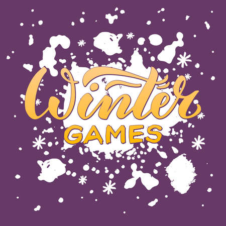 Vector illustration of winter games lettering for banner, poster, greeting card, shop advertisement, souvenirs, stickers, clothes design.