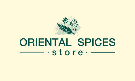 Vector illustration of oriental spices store logo for banner, poster, spice shop advertisement, signage, catalog, product design. Changeable text with floral graphic elements