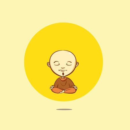buddhist monk: Cartoon buddhist monk Illustration