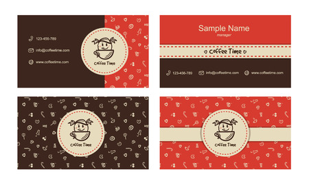 Vector bakery business cards template with logo and sweets icons pattern