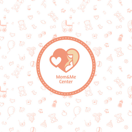 Vector mother centre logo with seamless baby pattern