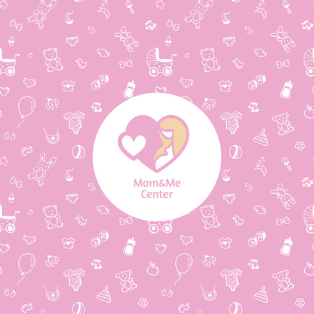 Vector mother centre logo with seamless baby pattern Vector